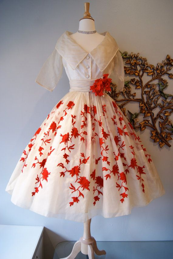 Vintage 1950s Rappi Couture Silk Organza Party Prom Dress Heart Stopper Red Embroidery
