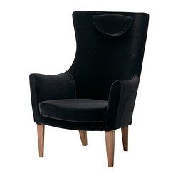 STOCKHOLM Chair high - Sandbacka black - IKEA $499.  Expensive for Ikea, and the headrest is kind of derpy. Wonder if there's a way to get bronze legs...