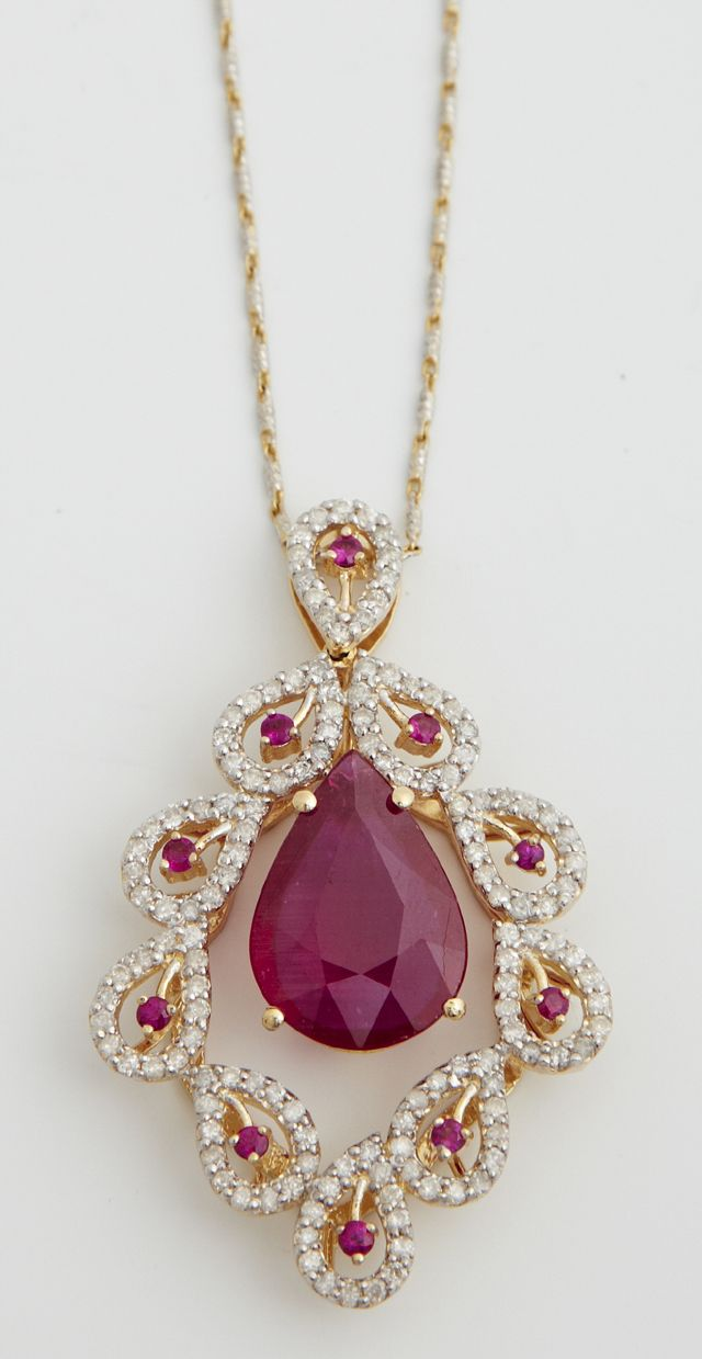 14k White Gold Pendant With A Center Pear Shaped Ruby, Suspended From A Pierced Frame Of Pave Diamond Leaves With Central Small Round Rubies, With An Identical Leaf Form Bail, On A 14k White And Yellow Gold Tiny Twisted Link Chain