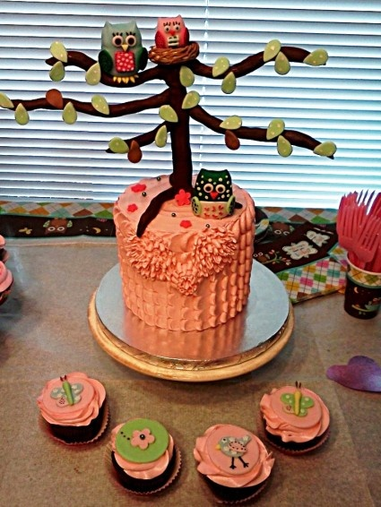 Nesting Owl Baby Shower Cake and Cupcakes