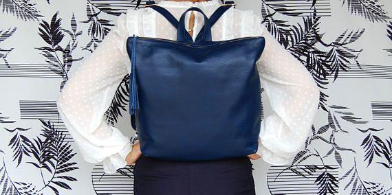 "13"" -15 "" laptop size backpack, Metropolitan backpack, backpack for women, leather school bag, womens backpack, blue leather bag"