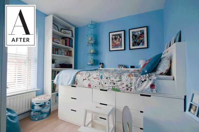 Before After An Ikea Hack Adds Style Storage To A Kids Room