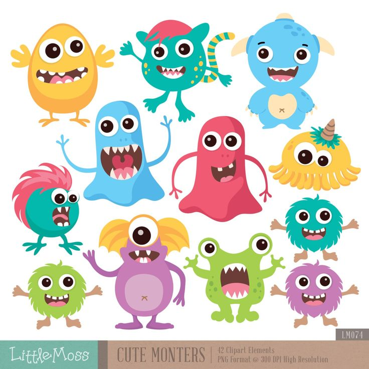 Cute Monsters Digital Clipart by LittleMoss on Etsy https://www.etsy.com/listing/230402486/cute-monsters-digital-clipart