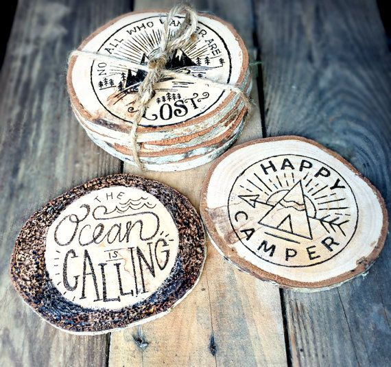 Wood Coasters - Nautical Woodburned Coaster - Pyrography - Wood Burned Coaster Set - Tree Slices - Nautical Decor