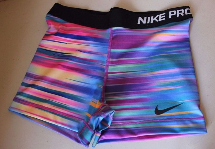 "Nike Pro Women's Dri Fit Training Shorts Striped Blue Base Layer Medium 3"" NWT #Nike #Shorts"