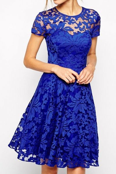 Royal Blue Fairy Lace Skater Dress