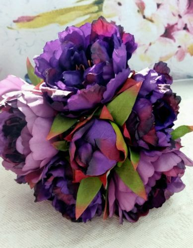 Artificial peony rose bouquets white & purple .MASSIVE STOCK CLEARANCE