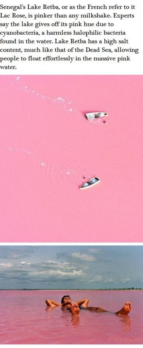 Lake Retba in France. It's pink! Before I die, I must see this.