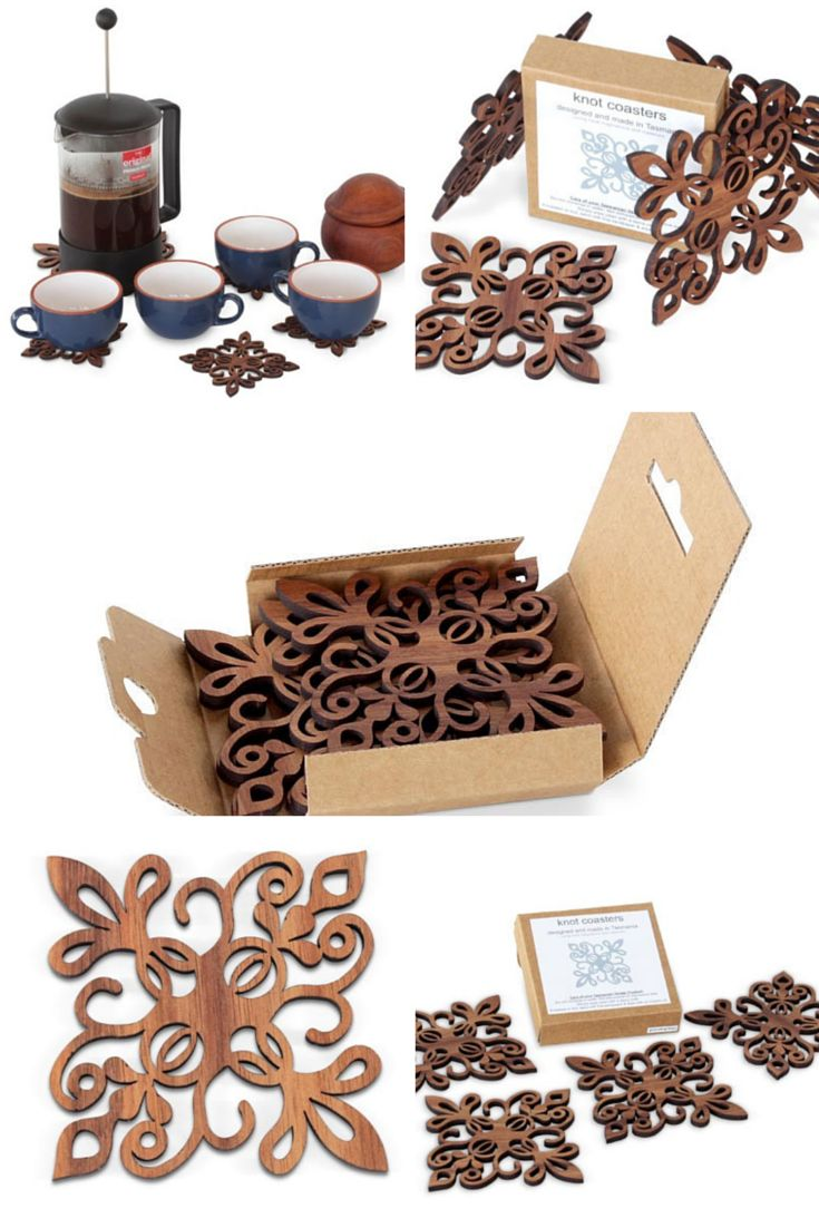 Celtic design and French Fleur de Lys combine to create these intricate laser-cut coasters. Crafted from Tasmanian Blackwood the coasters come boxed in a set of 4.