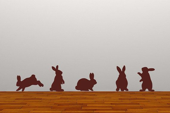 wall sticker nursery rabbits decal Set of 5 by 60SecondMakeover, £14.99