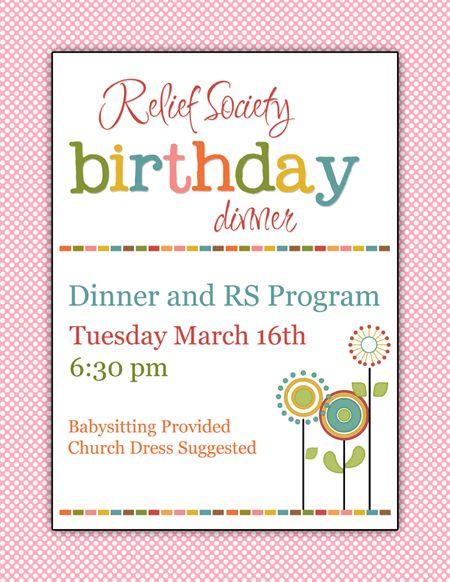 8 best rs birthday dinner images on pinterest activity ideas relief society invitation artwork for birthday dinner stopboris Choice Image
