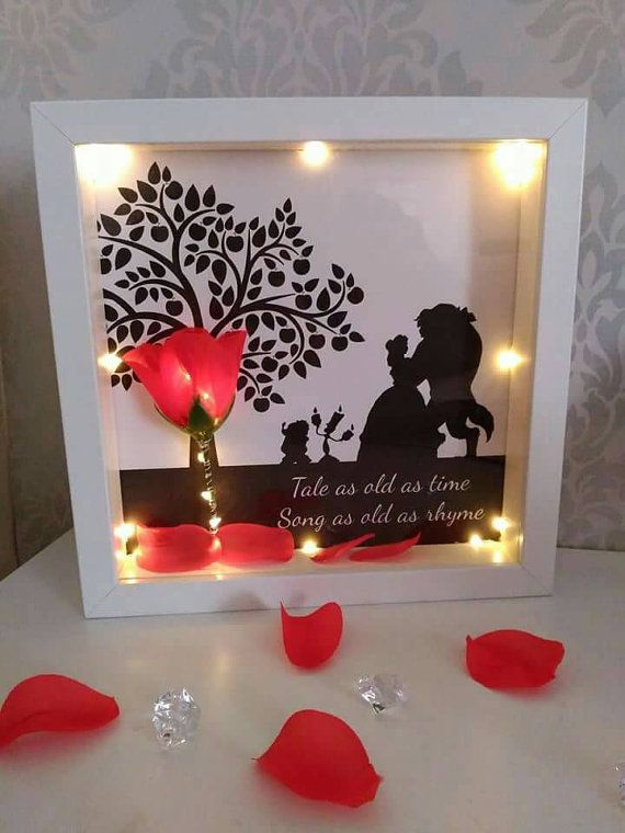 Disney inspired beauty and the beast enchanted rose - light up 3d frame