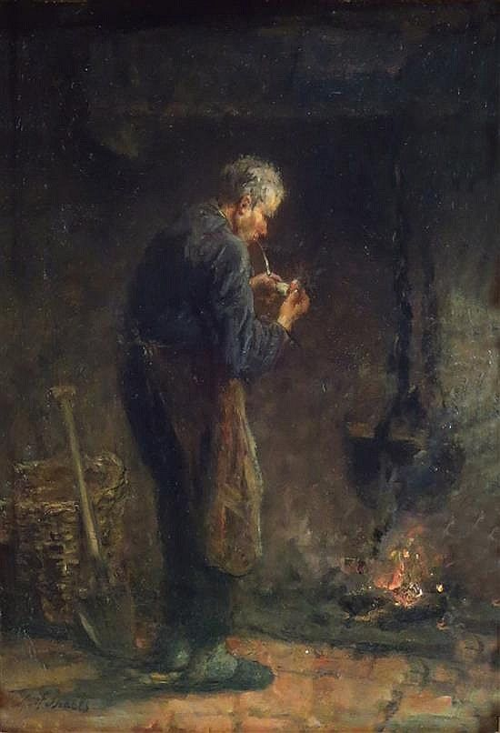 **Jozef Israels 1824-1911 (Dutch) Man lighting the pipe oil