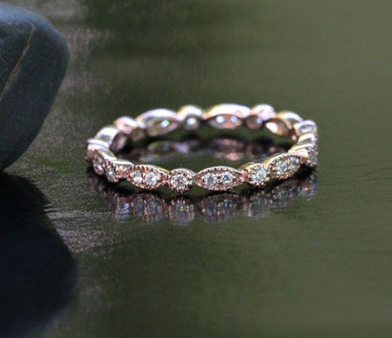 Marquese and Bubbles Full Eternity Milgrain 14k Rose Gold Diamond Ring / http://www.himisspuff.com/wedding-bands-for-women/5/