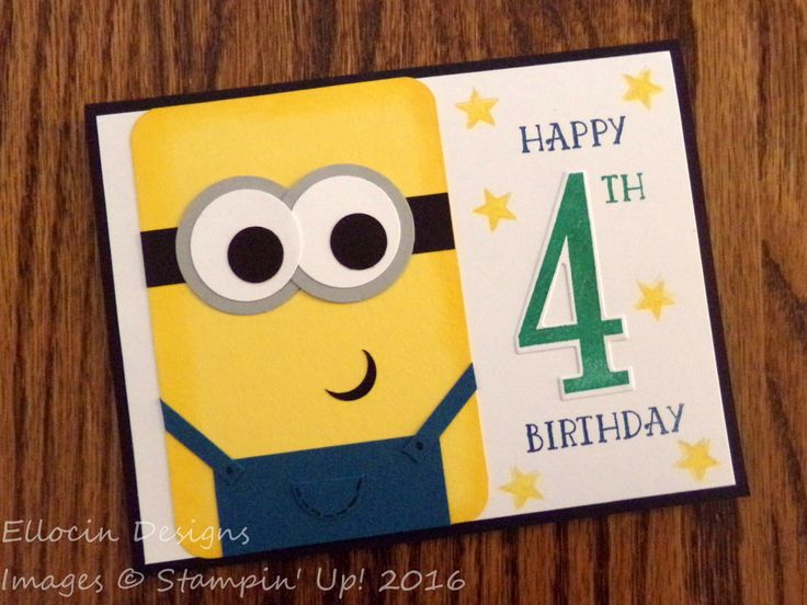 Personalized birthday year Minions card! Made with Number of Years stamp set and other products from Stampin' Up!