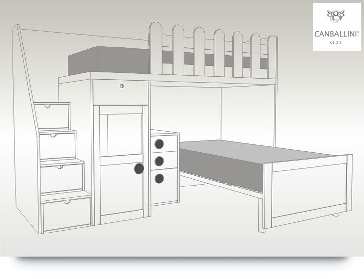 Litera de dos camas con escalones armario y mesita de - Literas con armario incorporado ...