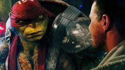 Raphael looking at Casey Jones. (I believe that Raphael is jealous of Casey Jones.)