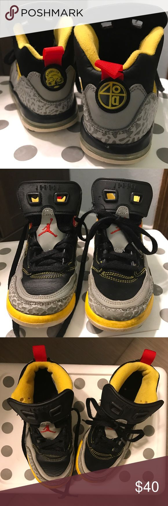 Jordan Spike Lee boys shoes Jordan Spike Lee boys shoes in yellow, gray, red, and black. Used but in good condition. Jordan Shoes Sneakers