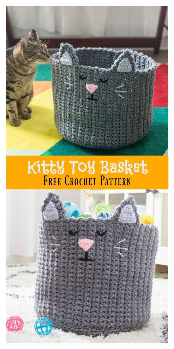 Kitty Toy Basket Free Crochet Pattern Crochet Gifts Crochet