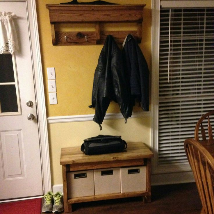 A new home for an entryway shoe bench and coat rack! I think it looks great, perfect fit.
