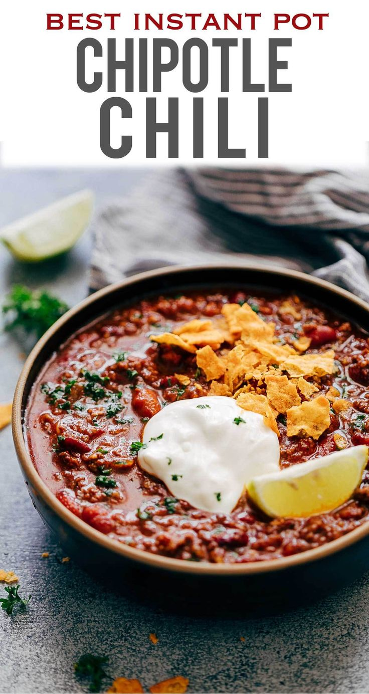 Instant Pot Chipotle Chili is the easiest and fastest way to make chili at home. It's spicy, homemade, comfort food that will keep you warm and makes for a great one pot family dinner. Comfort Food at its best! #chili  #chilirecipe #instantpotrecipe #pressurecooker #chipotlechili #comfortfood #fallrecipes My Food Story