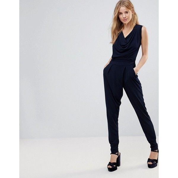 Wal G Cowl Front Jumpsuit (310 HKD) ❤ liked on Polyvore featuring jumpsuits, navy, walg, navy blue jumpsuit, navy jumpsuit, jump suit and fitted jumpsuit