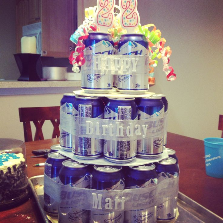 Surprised My Boyfriend For His 22nd Birthday Great Gift: Birthday Beer Cake! This Is A Great Idea And Really Easy