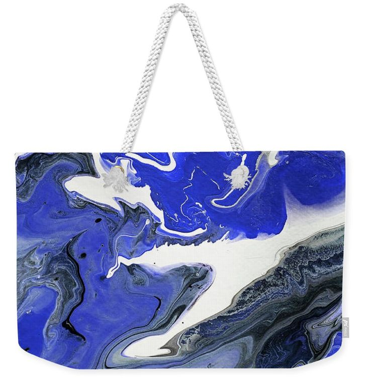 "The Rivers Of Babylon Fragment 1.  Abstract Fluid Acrylic Painting Weekender Tote Bag (24"" x 16"") by Jenny Rainbow.  The tote bag includes cotton rope handle for easy carrying on your shoulder.  All totes are available for worldwide shipping and include a money-back guarantee."