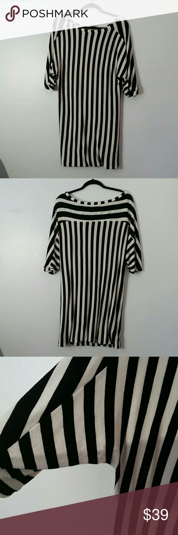 Diesel Striped Dress 3/4 dolman sleeves. Folded in hem. Contrasting stripe. Diesel logo tab on sleeve. Scoopneck. Fully lined. In very good condition. Size tag missing. Please refer to measurements.  Bust 20 Hip 18 Length 37 Diesel Dresses