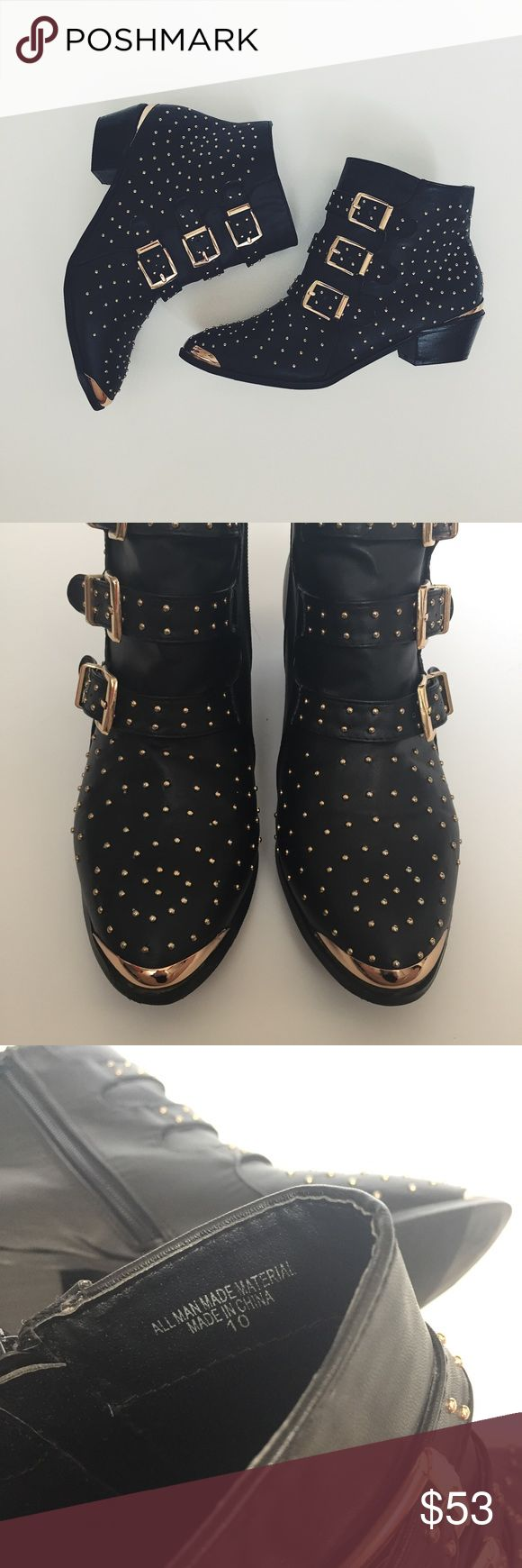 Black And Gold Studded Ankle Boots Black ankle booties with gold studs. Size 10. Only worn once and barely any wear is visible. Excellent condition. ✨Offers Welcome✨ Shoes Ankle Boots & Booties
