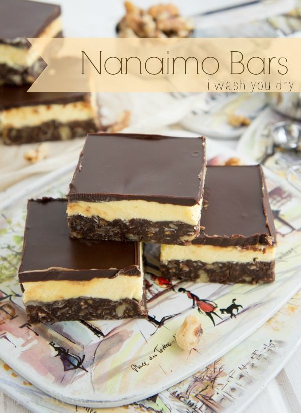 Nanaimo Bars ... Says: They are  a triple layer, NO BAKE, {insanely rich} dessert that is named after a city (Nanaimo) in British Columbia, Canada.