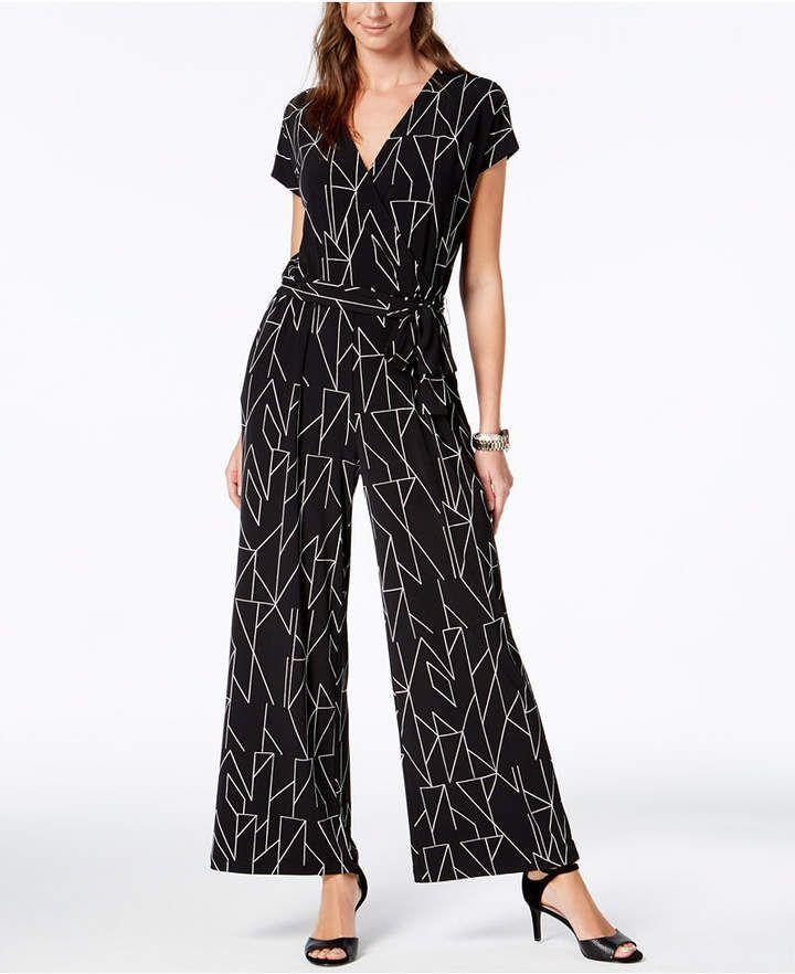 374a3b0dc6a8 Alfani Petite Printed Wide-Leg Jumpsuit in black and white geometric shapes