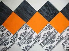 "30 6"" HARLEY DAVIDSON Shield logo, Orange Tonal & Gray Quilt Sew Fabric Squares"