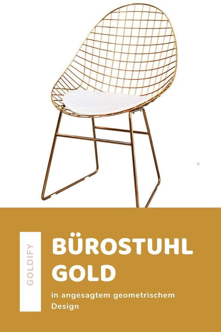 Schicker Burostuhl Im Geometrischen Design Gold Mit Weisser Kunstlederpolsterung Burostuhl Stuhl Interior Einrichten I Rote Stuhle Schreibtisch Burostuhl