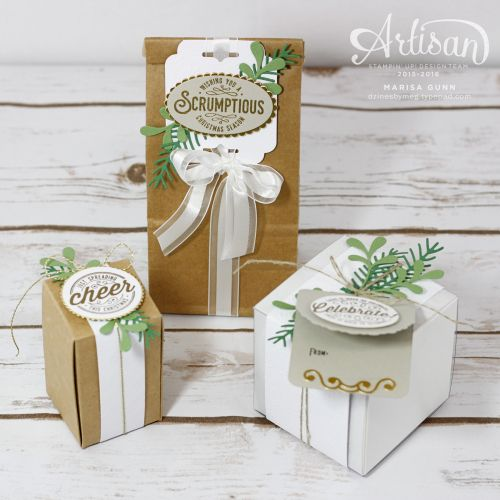 Gift boxes, bags and tags featuring the Here's to Cheers Bundle from Stampin' Up! by Marisa Gunn