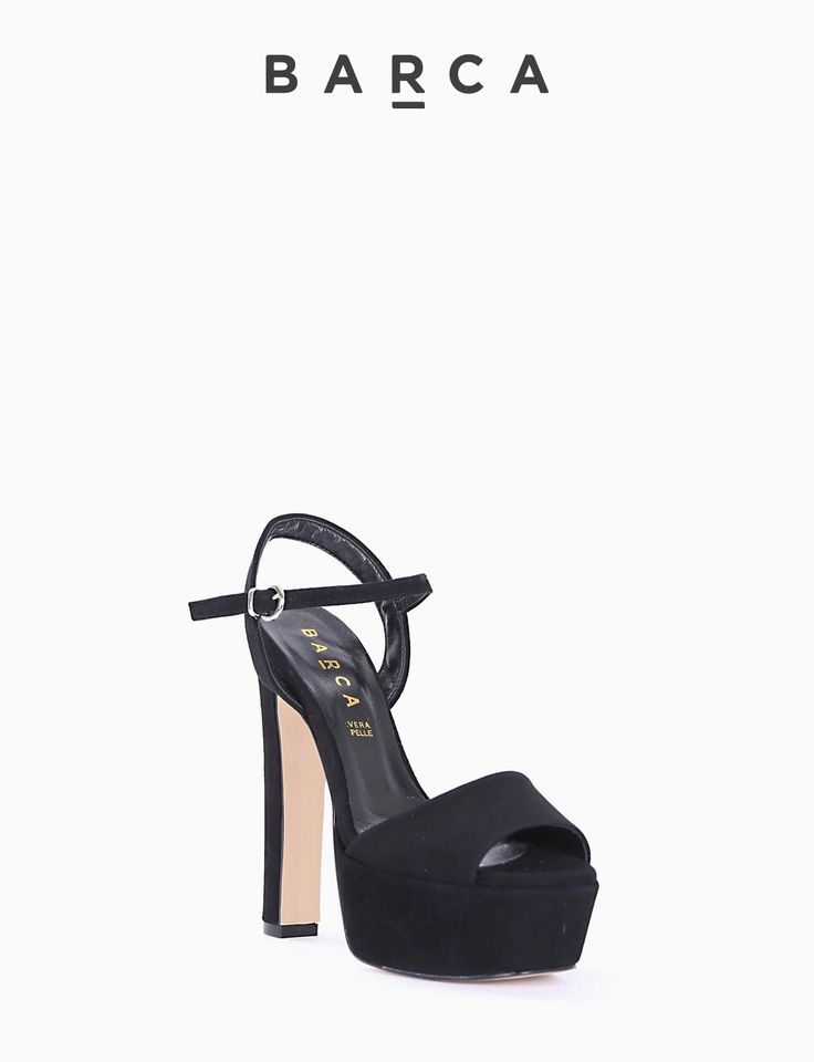 #Sandalo #tacco 120 con plateaux 4 cm, fondo gomma e soletto in vera pelle, morbida tomaia in #camoscio con punta squadrata e tallone aperto, cinturino sulla caviglia regolabile.  COMPOSIZIONE FONDO GOMMA, SOLETTO VERA PELLE  COLORE #NERO  MATERIALE #CAMOSCIO  #heels #tacchi #sandali #fashion #fashionblogger #springsummer #primavera #estate #outfit #nuovacollezione #newcollection