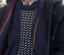 LL Bean Men's Norwegian Heritage Sweater Navy Toggle Coat ~ Classic True Prep Bird's Eye