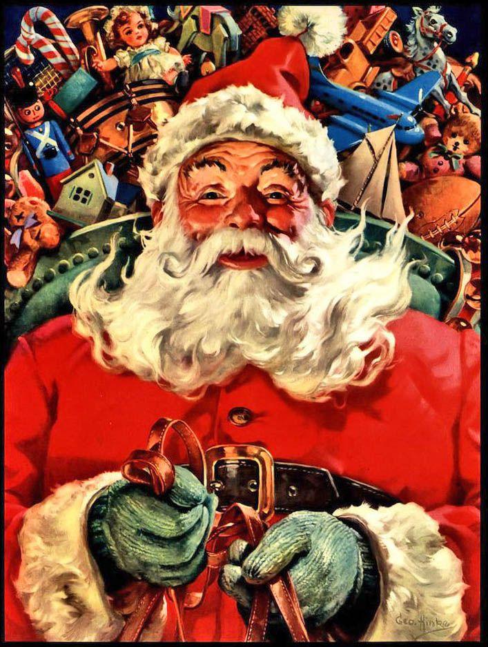 "1951 ""Hurry, Dear Santa"" Santa's sleigh art print by George Hinke"