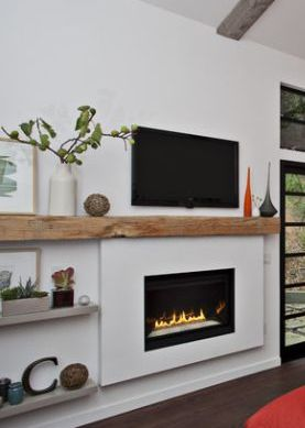 Fireplace Floating Shelves Wood Cement Organic Minimalist Living Room