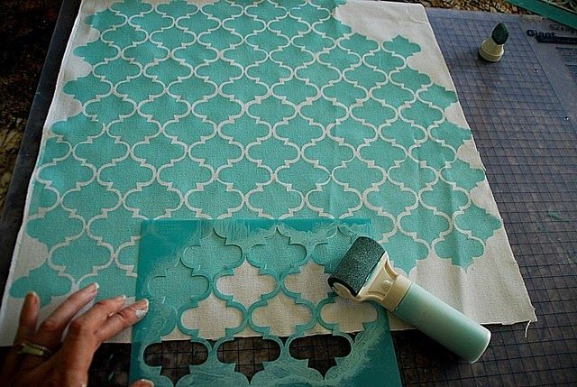 Use a stencil like this to frost the front door window glass with acrylic glaze.