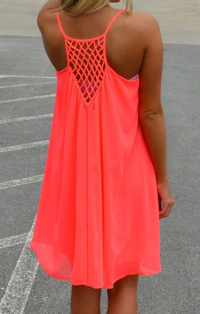Spaghetti Strap Hollow Shift Neon Red Braces Sun Slip Dresses -SheIn(Sheinside)