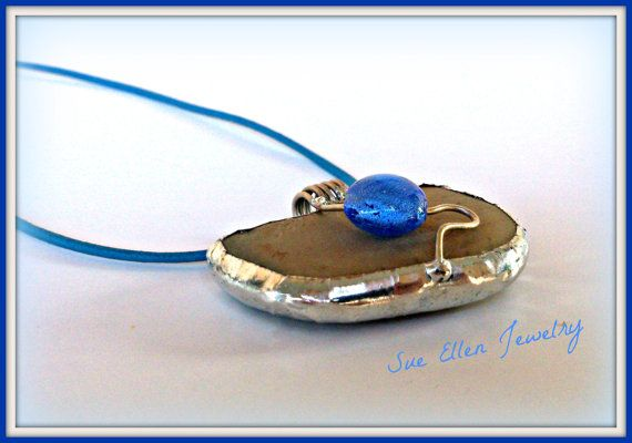 a GREEK ISLANDS SOUVENIR  Pebble pendant off by SueEllenDreamland