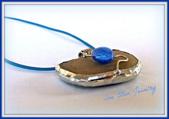 a GREEK ISLANDS SOUVENIR  Pebble pendant off by SueEllenDreamland
