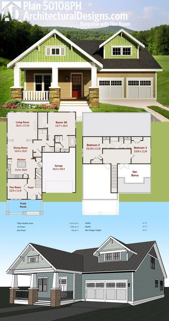 Architectural Designs Bungalow House Plan 50108PH Gives You 3 Beds  Including The Master On The Main