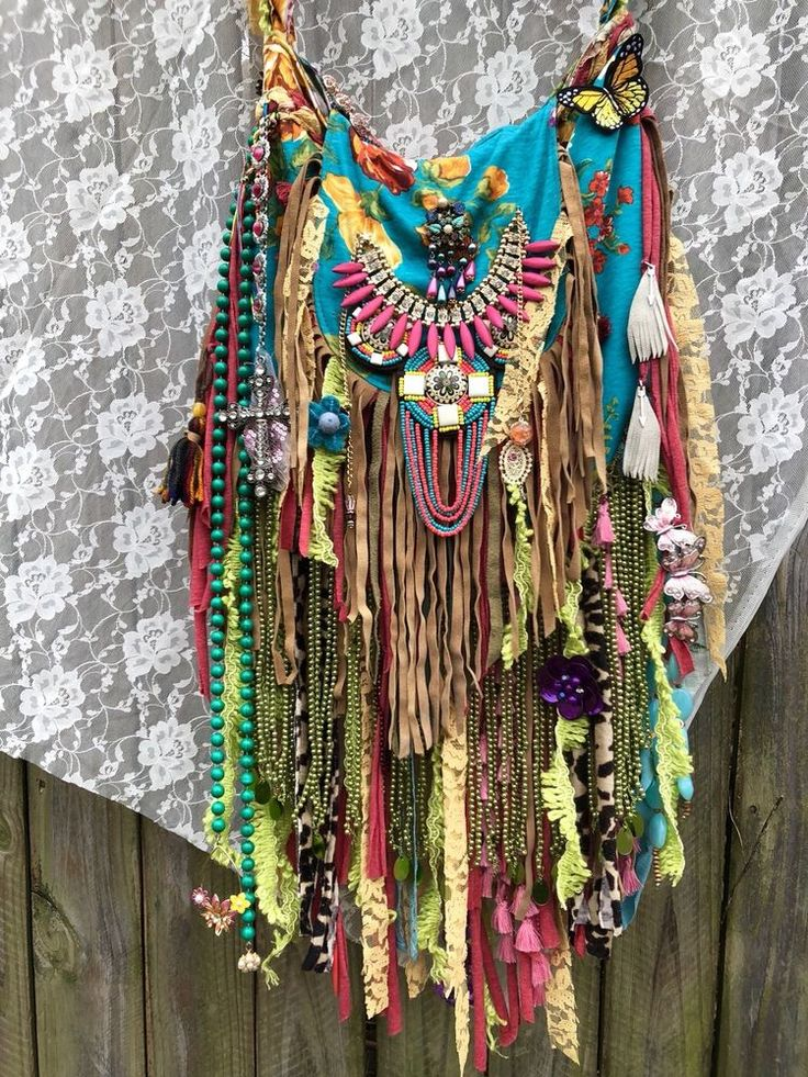 Handmade Fabric & Leather Fringe Shoulder Bag Boho Gypsy Festival Purse B.Joy  | eBay
