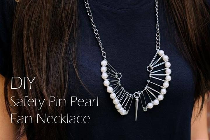 Diy safety pin pearl fan necklace 17 diy safety pin