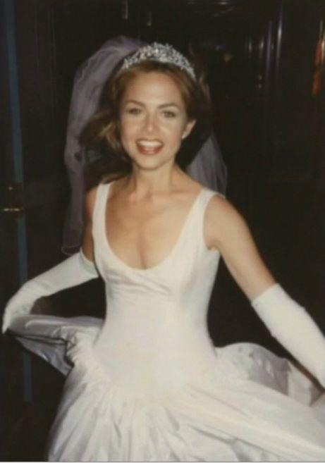 Rachel Zoe on her wedding day in her Isaac Mizrahi wedding gown, tiara and veil!