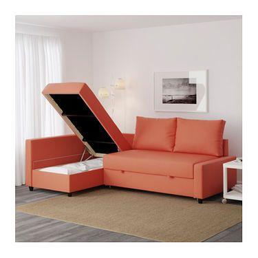 Beau FRIHETEN Corner Sofa Bed With Storage Skiftebo Dark Orange