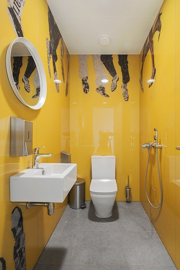 Swatch Group Offices Moscow Office Snapshots Yellow Bathroom Decor Yellow Bathrooms Bathroom Design Small