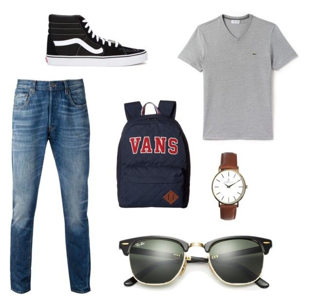 """""""Man 1"""" by chloe-huguenin on Polyvore featuring Levi's, Lacoste, Vans, Ray-Ban, men's fashion and menswear"""